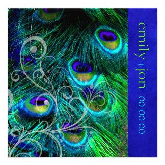 PixDezines peacock feather aqua turquoise Custom Invitations