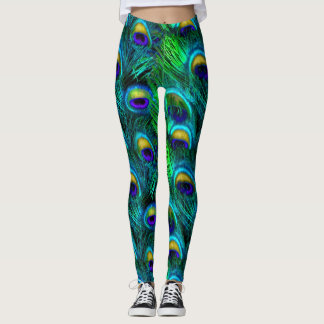 PixDezines Peacock Feather/Emerald/Cobalt/Aqua Leggings