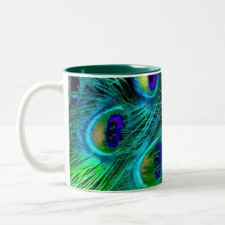 PixDezines peacock feather Two-Tone Coffee Mug