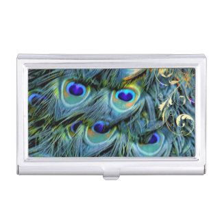 PixDezines peacock+filigree swirls/diy background Business Card Cases