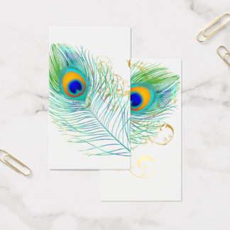 PixDezines PEACOCK PLUME+FILIGREE/DIY bckgrnd Business Card