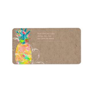 PixDezines Pineapple+Floral Watercolor Address Label