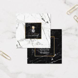 PixDezines Pineapples/Black+White Marble Square Business Card
