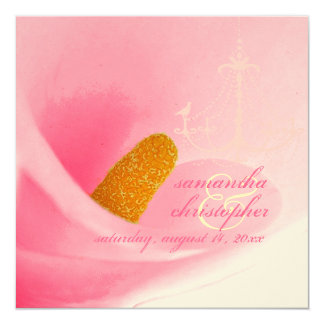 PixDezines Pink Calla Lily + Bird on Chandelier 13 Cm X 13 Cm Square Invitation Card