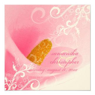 PixDezines Pink Calla Lily + Swirls 13 Cm X 13 Cm Square Invitation Card