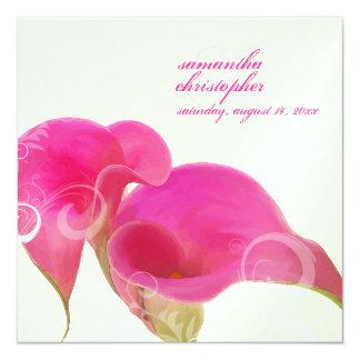 PixDezines Pink Calla Lily+Swirls/diy background 13 Cm X 13 Cm Square Invitation Card