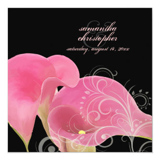PixDezines Pink Calla Lily + Swirls 5.25x5.25 Square Paper Invitation Card