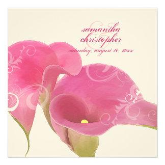 PixDezines Pink Calla Lily + Swirls Custom Invites