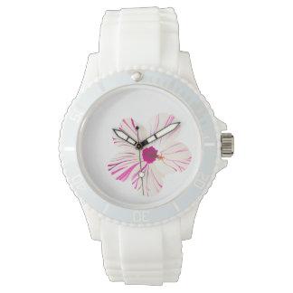 PixDezines pink hibiscus/diy background Wristwatch