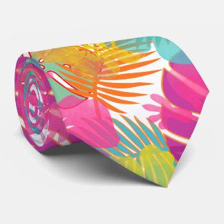 PixDezines Pink Hibiscus/Rainforest Tie