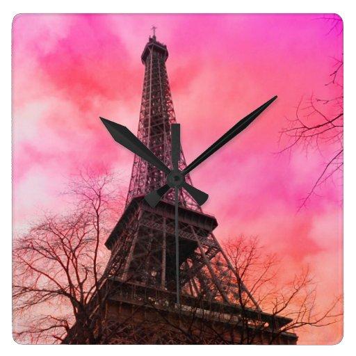 PixDezines pink paris/eiffel tower Wall Clocks