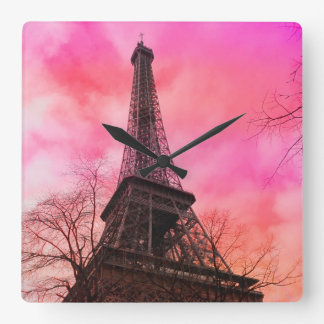 PixDezines pink paris/eiffel tower Square Wall Clock