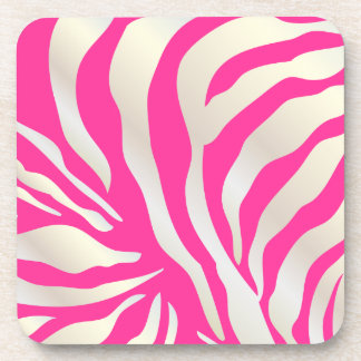 PixDezines Pink Zebra print/DIY colors Beverage Coaster