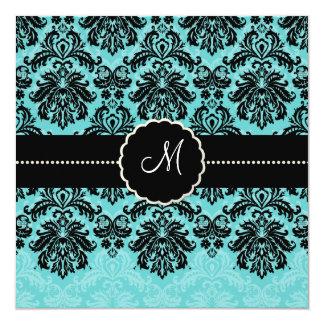 PixDezines Piqué, Damask / Black+Aqua Blue Velvet 13 Cm X 13 Cm Square Invitation Card