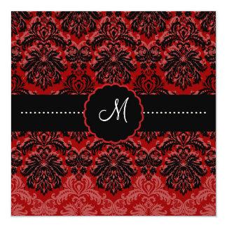 PixDezines Piqué, Damask/Black+DIY Red Velvet 13 Cm X 13 Cm Square Invitation Card