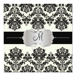 PixDezines Piqué, Damask / Black + Off White 13 Cm X 13 Cm Square Invitation Card