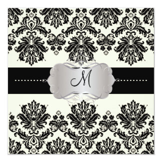 PixDezines Piqué, Damask / Black + Off White 13 Cm X 13 Cm Square Invitation Card