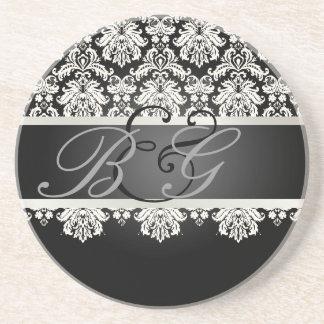PixDezines Piqué Damask Monogram Wedding Drink Coaster