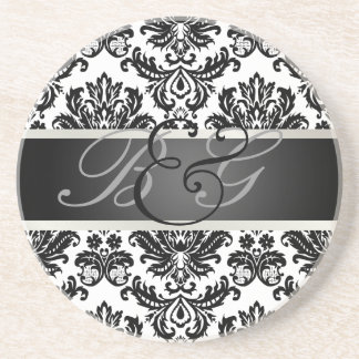 PixDezines Piqué Damask Monogram Wedding Coasters