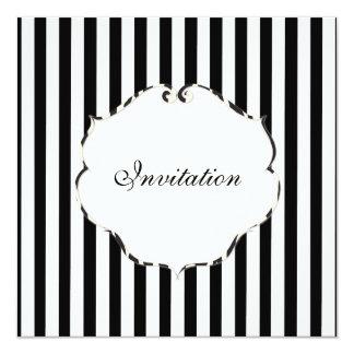PixDezines Plain stripes black + white/zebra frame 13 Cm X 13 Cm Square Invitation Card