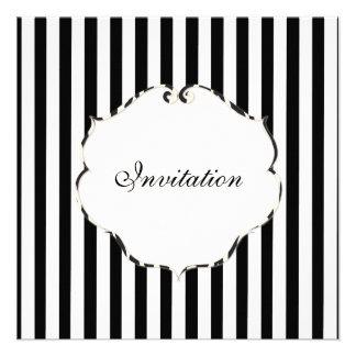 PixDezines Plain stripes black + white zebra frame Custom Invitation