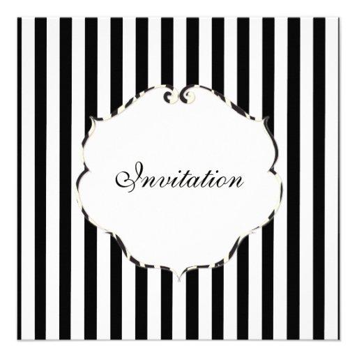 PixDezines Plain stripes black + white/zebra frame Custom Invitation