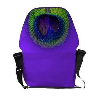 PixDezines Psychedelic Peacock/cobalt blue+purple Messenger Bag