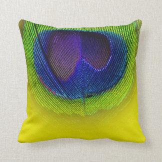 PixDezines psychedelic peacock eye/purple+yellow Throw Cushion