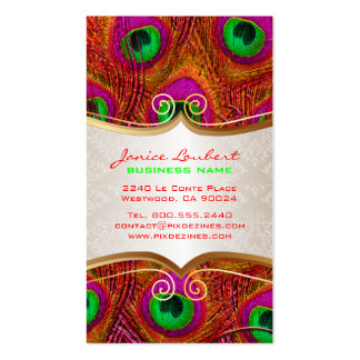 PixDezines psychedelic peacock+gold trim label Business Card