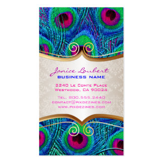 PixDezines psychedelic peacock+gold trim label Business Card Template