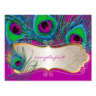 PixDezines psychedelic peacock+gold trim label Postcard