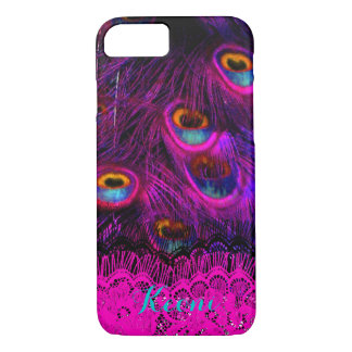 PixDezines Psychedelic Peacock, hot pink iPhone 7 Case