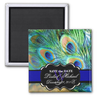 PixDezines Psychedelic Peacock, Save the Date Square Magnet