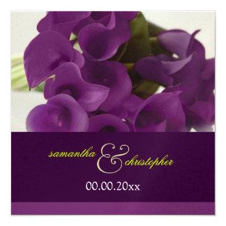 "PixDezines purple calla lilies/diy 5.25"" Square Invitation Card"