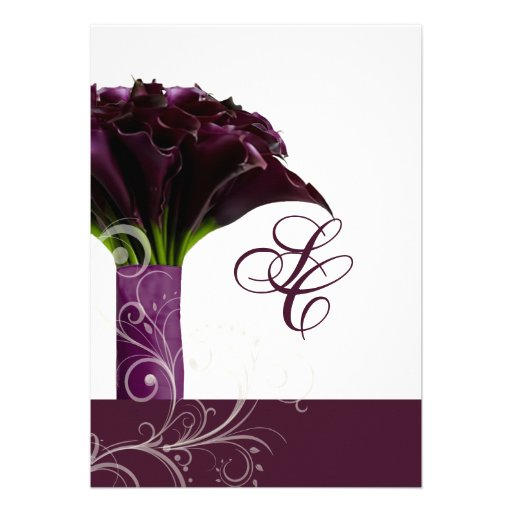 PixDezines purple calla lilies/diy Personalized Invitation