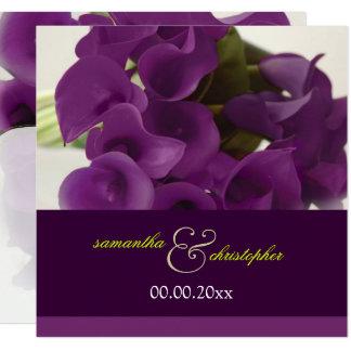 PixDezines PURPLE CALLA LILY BOUQUET 13 Cm X 13 Cm Square Invitation Card