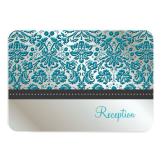 PixDezines reception/Baroque faux foil lace/teal Card