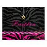 PixDezines reception/hot pink zebra/bat mitzvah 11 Cm X 14 Cm Invitation Card