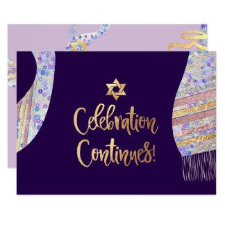 PixDezines Reception Mitzvah/purple watercolor Card