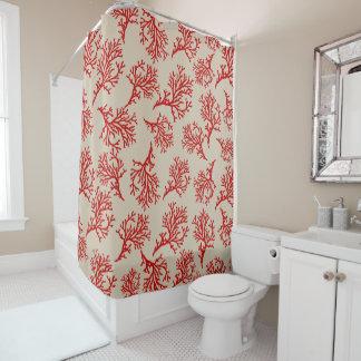 PixDezines Red Corals/DIY Background Tan Shower Curtain