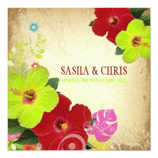 "PixDezines red+green hibiscus+monstera 5.25"" Square Invitation Card"