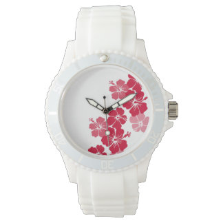 PixDezines red hibiscus/diy background Wrist Watches