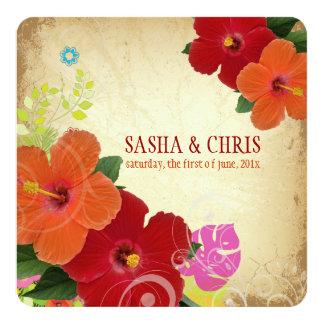 PixDezines red+orange hibiscus+monstera 13 Cm X 13 Cm Square Invitation Card