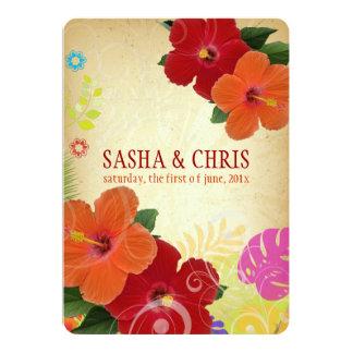 PixDezines red+orange hibiscus+monstera 13 Cm X 18 Cm Invitation Card