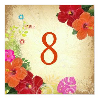 PixDezines red+orange hibiscus+monstera table card 13 Cm X 13 Cm Square Invitation Card