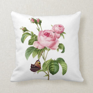 PixDezines redoute roses Throw Pillow