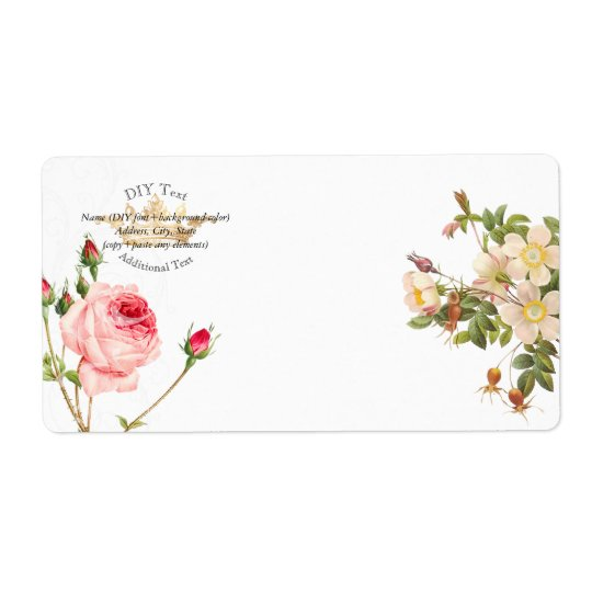 PixDezines Redoute Vintage Roses/Gold Crown Shipping Label