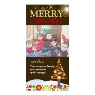 PixDezines Retro Christmas Ornaments Tree Customised Photo Card