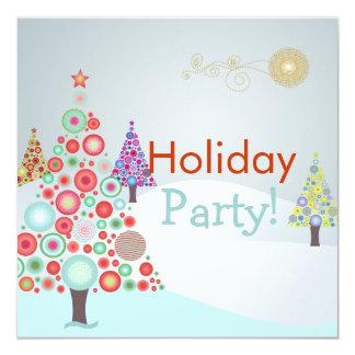 PixDezines Retro Christmas Ornaments Tree 13 Cm X 13 Cm Square Invitation Card