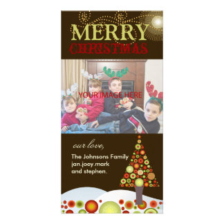 PixDezines Retro Christmas Ornaments Tree Picture Card